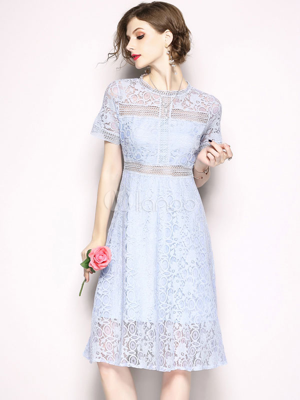 Buy Blue Lace Dress Crewneck Short Sleeve Summer Midi Dress for $37.39 in Milanoo store