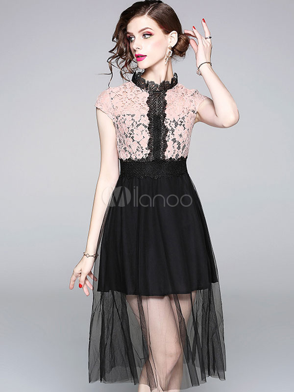 Buy Women Skater Dress Short Sleeve Lace Two Tone Stand Collar Summer Dress for $33.14 in Milanoo store