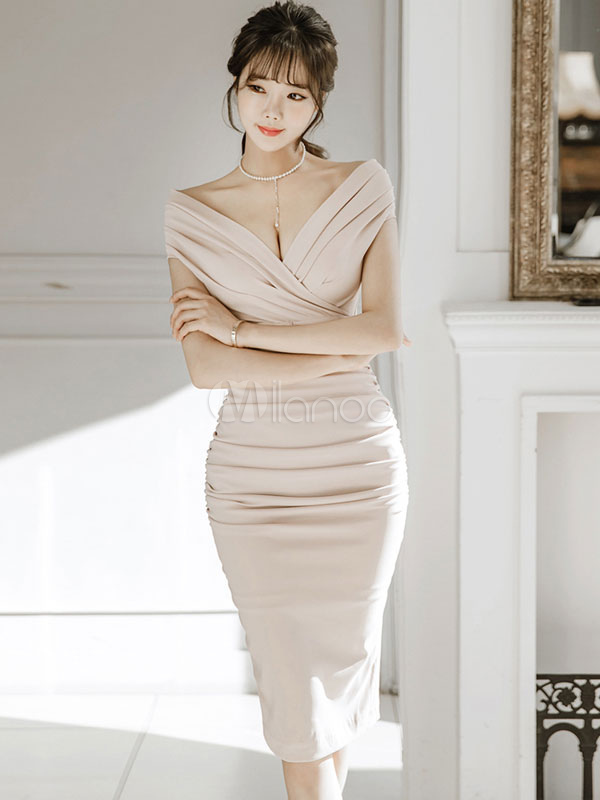 Buy Sexy Bodycon Dress Women Off Shoulder Slit Ruched Short Sleeve Sheath Dress for $33.59 in Milanoo store