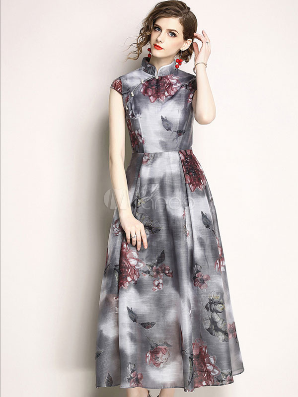 Floral Maxi Dress Chinese Style Short Sleeve Stand Collar Pearls Grey Summer Dress
