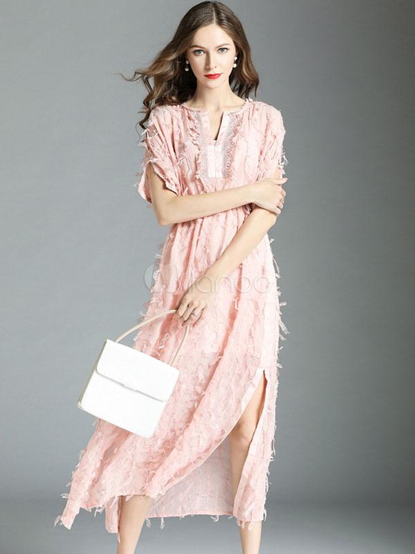 9ab1818869bbd ... فستان صيفي طويل كم فستان قصير من الشيفون سبليت فستان شيفون وردي-No.2 ...