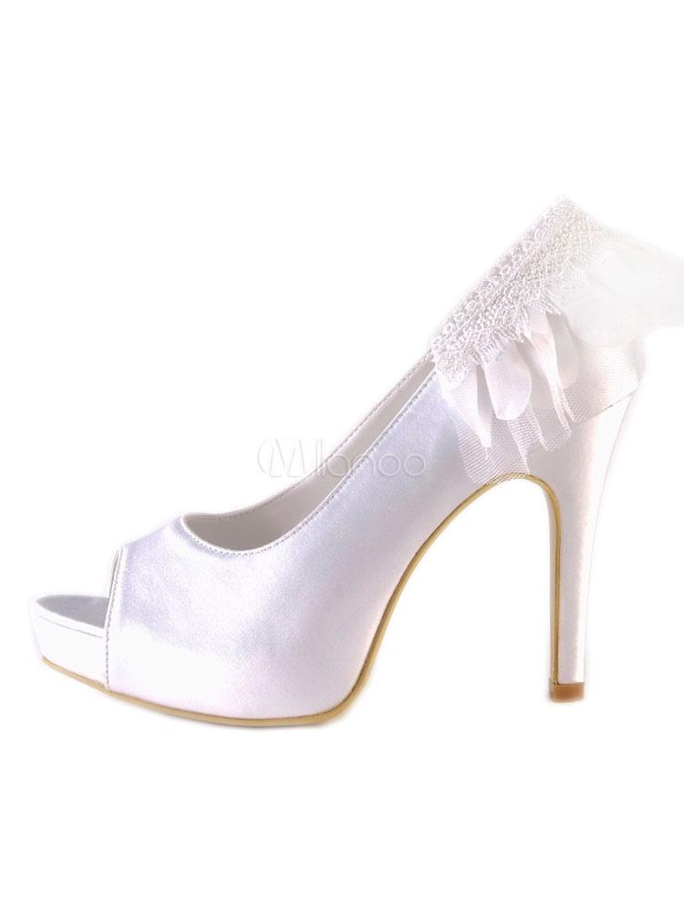 a8775f8945f60 White Wedding Shoes Satin Peep Toe Ruffle Slip On Bridal Shoes Women High  Heels-No ...