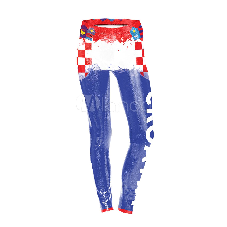 Fussball Leggings Kostum Weltmeisterschaft Kroatien Fussball Frauen Blaue Strumpfhosen