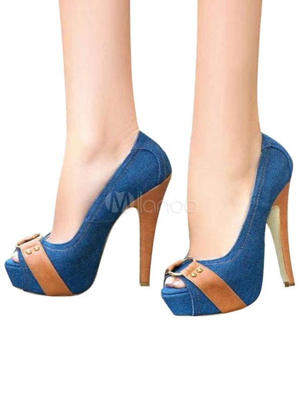 en venta 84c7d 48ac4 Plataforma mujer Tacones Azul Peep 2019 Toe Hebilla Detalle Slip On Pumps  Tacones altos