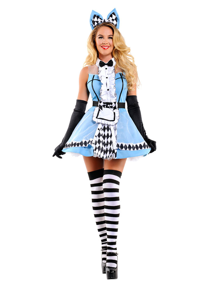 d8576a4d2a1 Sexy Maid Costume Halloween Baby Blue Women Dresses And Headpieces