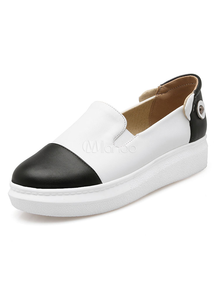 Zapatos casuales negros Mujeres punta redonda con cuentas Slip On Loafers Plus Size Shoes pCH2zNOcZ