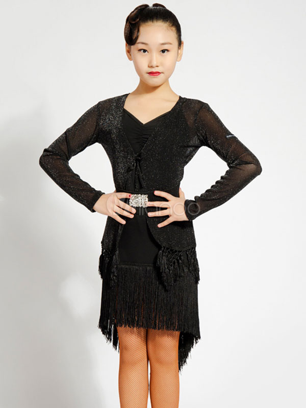 Latin Dance Dresses Girls Tassels Long Sleeve Short Training Dancing  Costume Wear-No.1 ... 8dfda202bb14