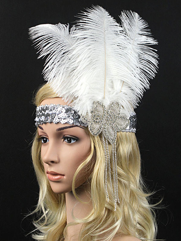 8062ecb433e9d Flapper Headband 1920s Great Gatsby Costume White Feather Headpieces Women  Sequin Vintage Costume Accessories Halloween- ...