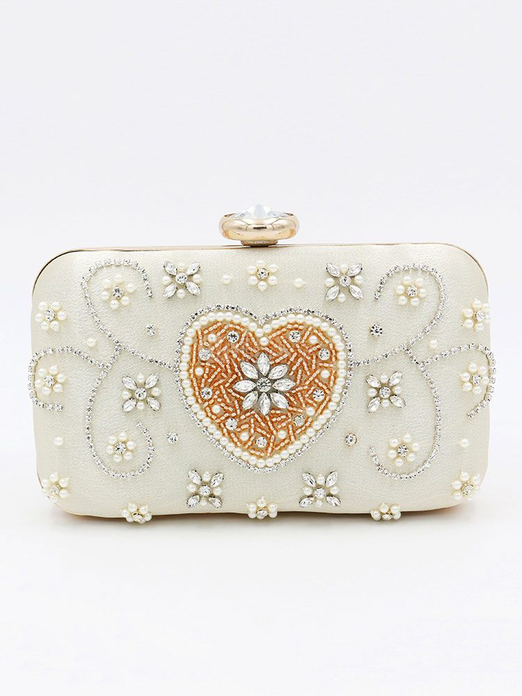 Buy Evening Clutch Bags Champagne Sweetheart Rhinestones Beaded Wedding Party Bridal Handbags for $37.59 in Milanoo store