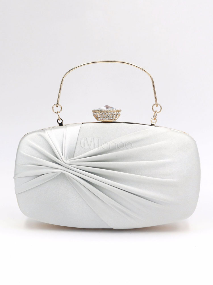 Buy Evening Clutch Bags Silver Pleated Bridal Wedding Party Handbags for $29.59 in Milanoo store
