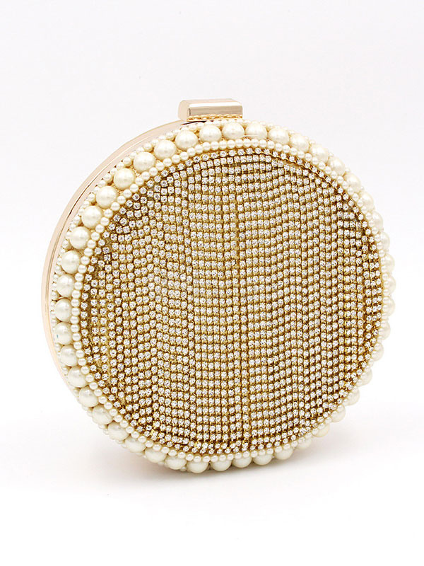 Buy Evening Clutch Bags Gold Round Shape Pearls Beaded Wedding Party Bridal Handbags for $33.59 in Milanoo store