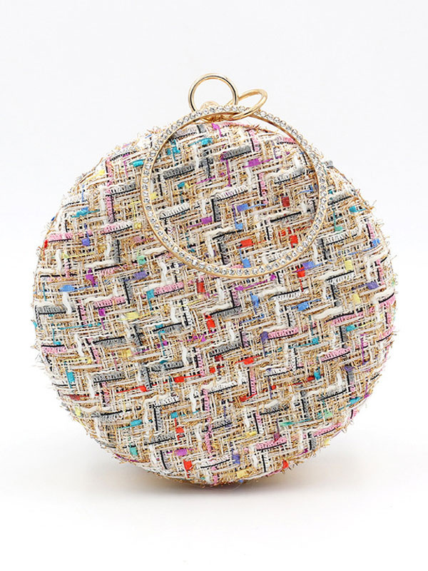 Buy Evening Clutch Bags Apricot Round Shape Tweed Wedding Party Bridal Handbags for $27.19 in Milanoo store