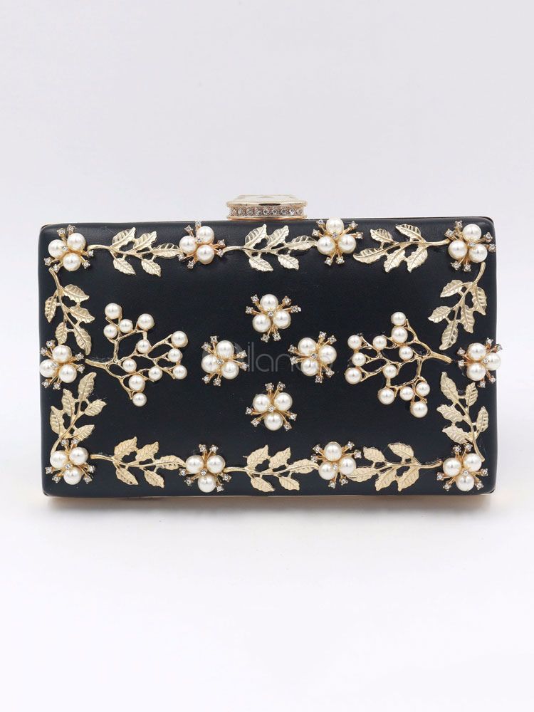 Buy Wedding Clutch Bags Black Pearls Rhinestones Leaf Beaded Evening Party Handbags for $29.59 in Milanoo store