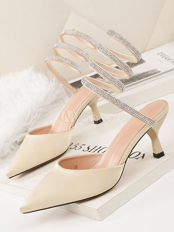 9e4c97b020 Kitten Heel Pumps Satin Pointed Toe Rhinestones Strappy Heels Apricot Party  Shoes-No.1 ...