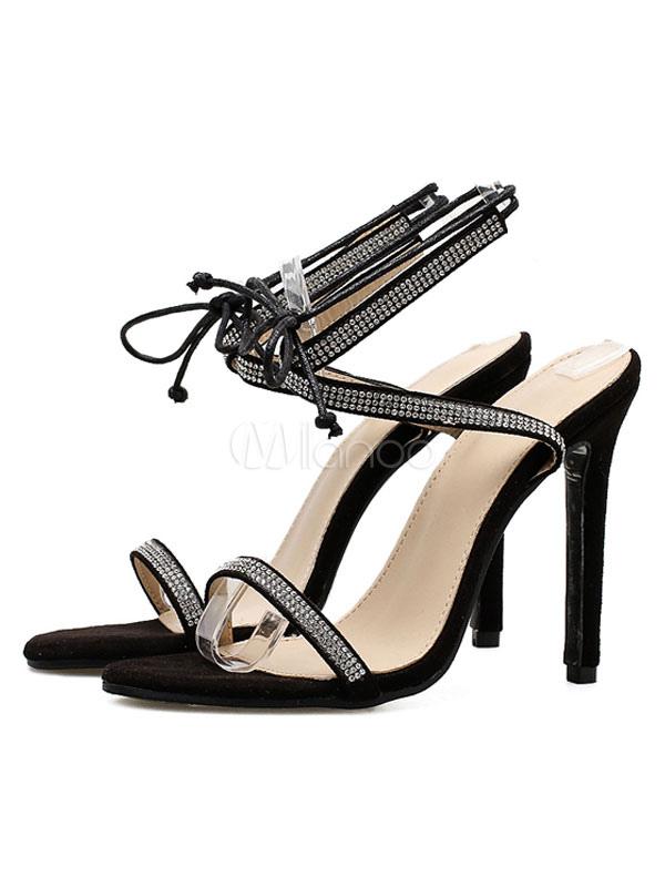 Zapatos Sandalias Cordones Pie Aguja 2019 Mujeres Negras Las Altos Del Tacones Tacón Con De Dedo Punta Abierta l1Tc3JFK