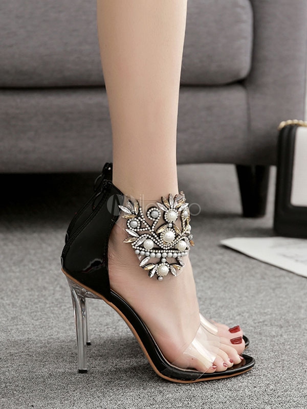 c47cbef5e ... High Heel Sandals Black Open Toe Rhinestone Ankle Strap Evening Shoes  Women Party Shoes-No ...