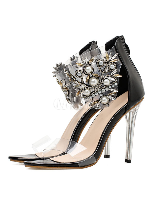 f6cd71bb1 High Heel Sandals Black Open Toe Rhinestone Ankle Strap Evening Shoes Women  Party Shoes-No ...