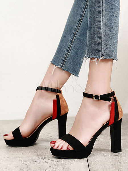 Buy High Heel Sandals Suede Platform Open Toe Ankle Strap Block Heel Sandals Women Shoes for $31.19 in Milanoo store