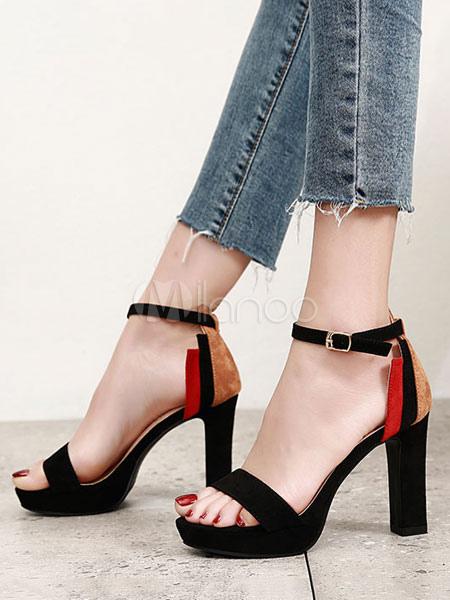 48e0e46415 Sandali con tacco alto 2019 in pelle scamosciata piattaforma open toe  cinturino alla caviglia con cinturino e sandali con tacco