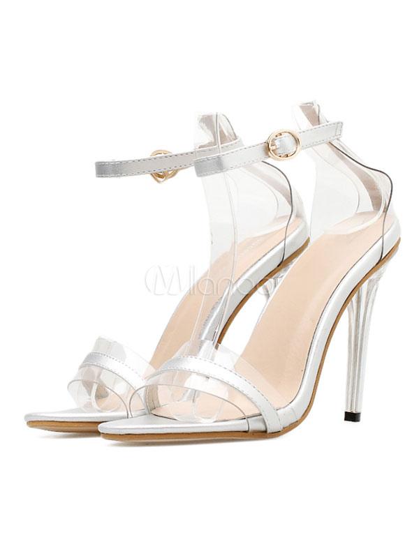 Buy Women Silver Sandals High Heel Open Toe Ankle Strap Sandal Shoes Block Heel Sandals for $34.39 in Milanoo store