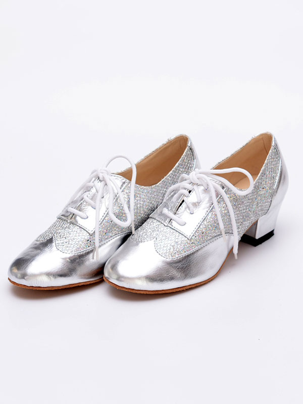 Glitter Ballroom Shoes Gold Round Toe Lace Up Zapatos de baile latino para mujeres