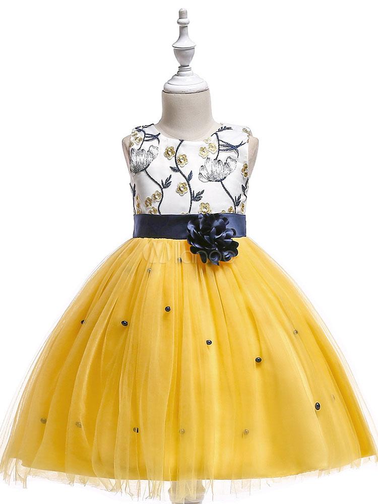 4e8bb5490f46f Robes de demoiselle d honneur jaune tutu princesse filles robe de concours  Sash manches robe ...