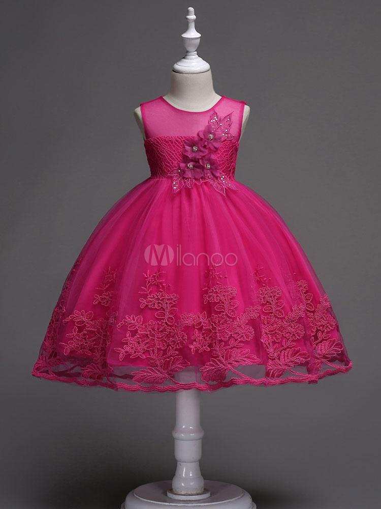 Vestidos de niña de flores de encaje Arcos de una línea de niñas ...