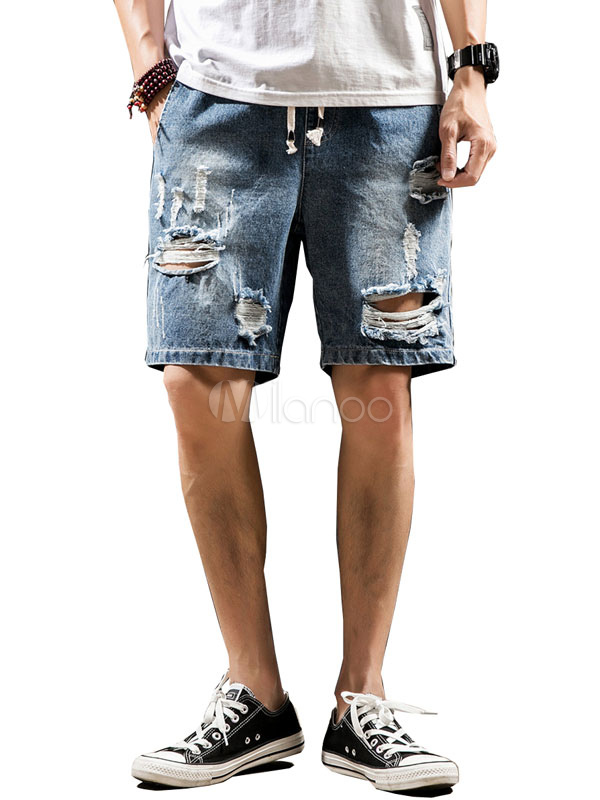 6330bca867a Men Denim Shorts Plus Size Distressed Ripped Jean Shorts - Milanoo.com