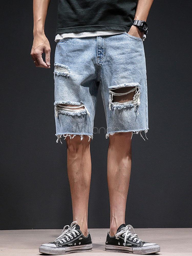 81f4fe086f Men Jean Shorts Ragged Hem Ripped Zipper Fly Blue Denim Shorts-No.1 ...