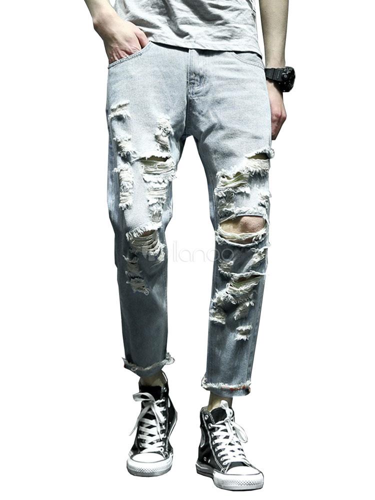 rationelle Konstruktion preisreduziert wähle echt Männer Blau 2019 Jeans Plus Size Destroyed Wash Zerrissene Denim Jean Pant