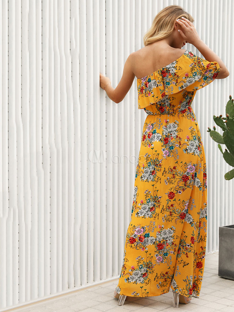 cdbaa41bd81 ... Floral Maxi Dress One Shoulder Short Sleeve Asymmetrical Yellow Summer  Dress-No.3 ...