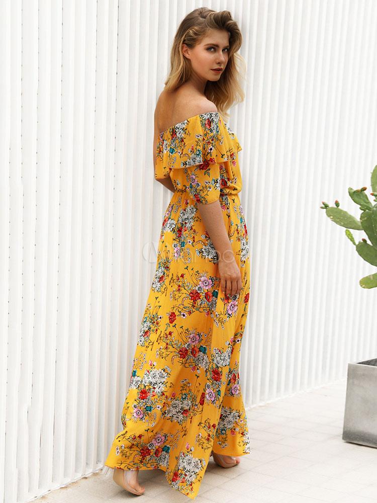 29f894a37ea ... Floral Maxi Dress One Shoulder Short Sleeve Asymmetrical Yellow Summer  Dress-No.2 ...
