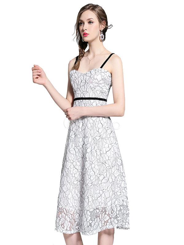 new arrival 06d01 eb813 Vestito da sera da donna con abito di pizzo bianco con cinghie