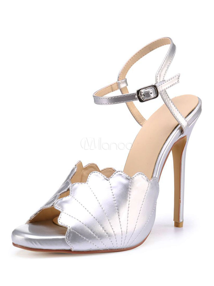 Buy Silver Party Shoes High Heel Sandals Women Peep Toe Designed Buckle Detail Dress Sandals for $70.54 in Milanoo store