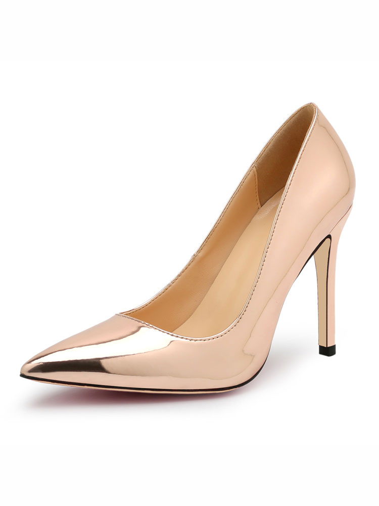 High Heels Champagne Pointed Toe Slip