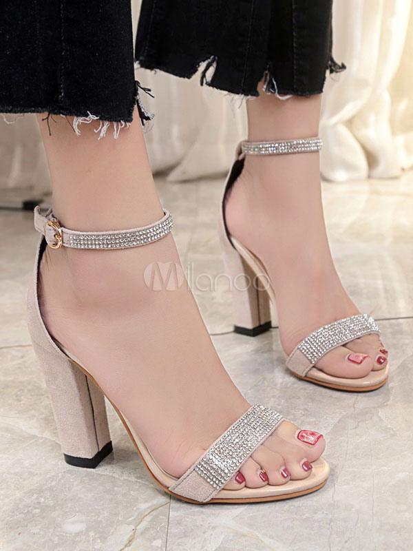 High Heel Sandals Black Open Toe Rhinestones Ankle Strap