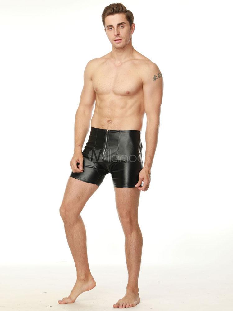 scarpe sportive dc0db 57222 Pole Dance Costume Shorts Men Sexy Costume Black PU Club Bottoms