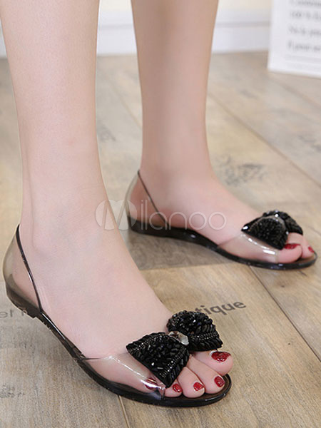 eac6010ed6a6a3 ... Women Jelly Shoes Open Toe Rhinestones Bow Flat Sandals Clear Summer  Sandals-No.7 ...