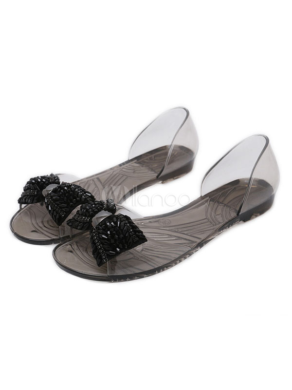 59cc8ecfcd4e85 Women Jelly Shoes Open Toe Rhinestones Bow Flat Sandals Clear Summer Sandals-No.1  ...