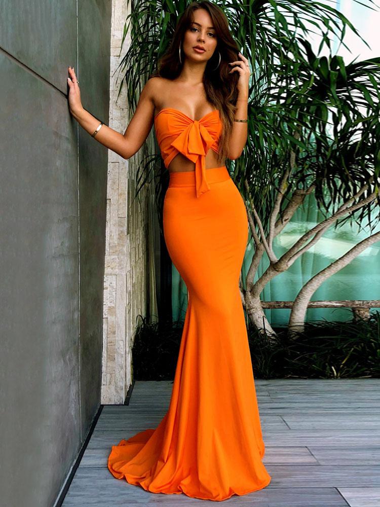 Women Two Piece Set Strapless Bows Orange