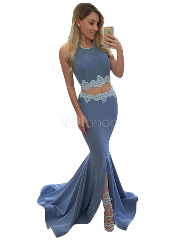 Sexy Two Piece Skirt Set Halter Lace Light Blue Crop Top With Maxi Skirt