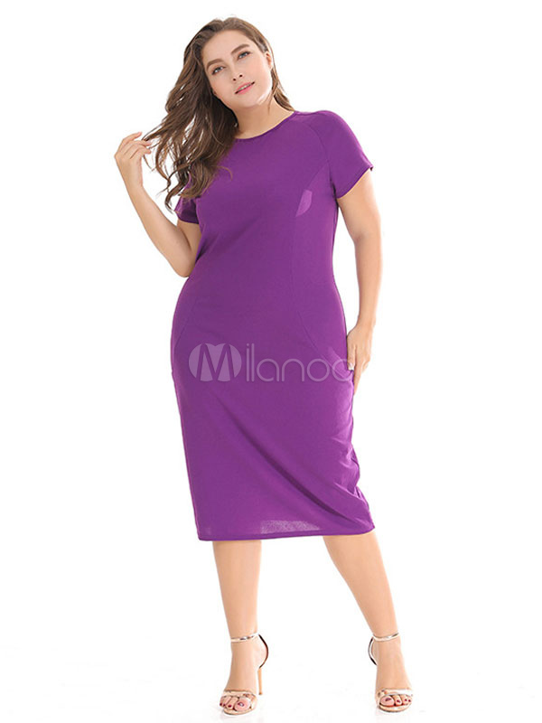 Buy Plus Size Summer Dress Short Sleeve Round Neck Solid Color Bodycon Dress for $23.79 in Milanoo store