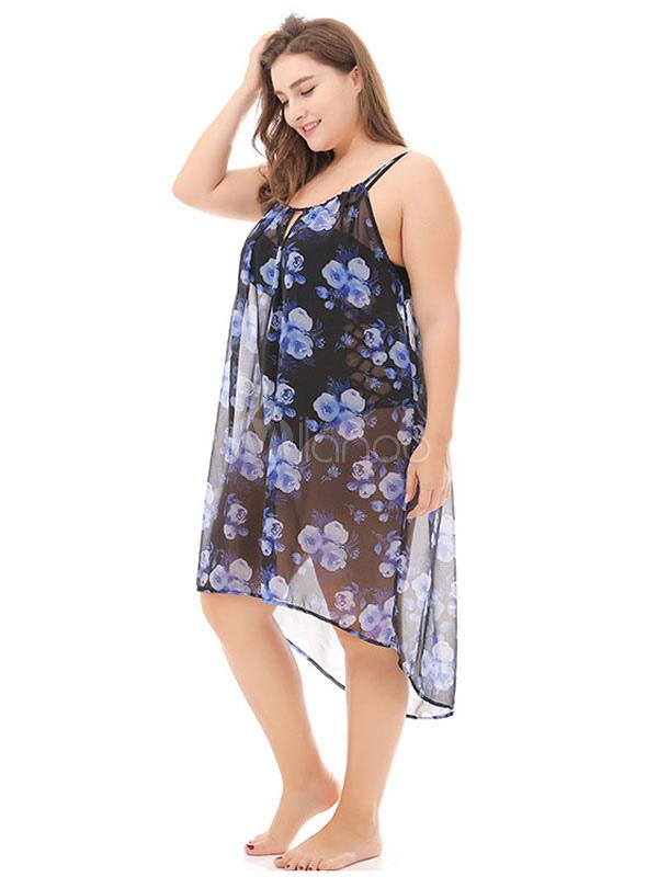 Cubierta De Tallas Grandes Vestido De Playa De Gasa Baja Con Estampado Floral De Tirantes Negros Milanoo Com