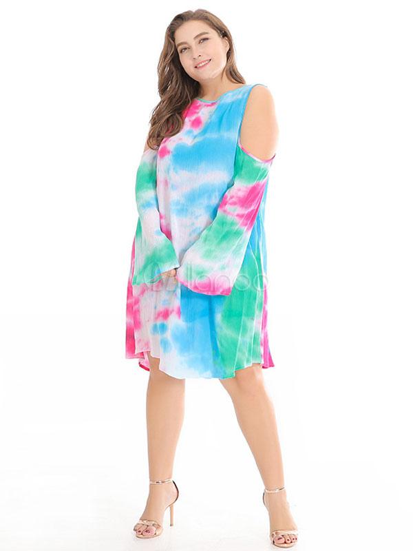 Plus Size Summer Dresses Long Sleeve Tie Dye Cold Shoulder Light Sky ...