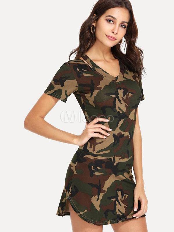 bbc67624f3c Women Camo T Shirt Dress V Neck Short Sleeve Summer Dress - Milanoo.com