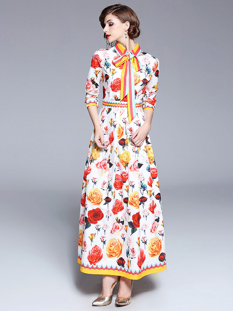 3a0562caedb Chiffon Maxi Dress Long Sleeve Bows Turndown Collar Roses Print Retro Dress- No.1 ...