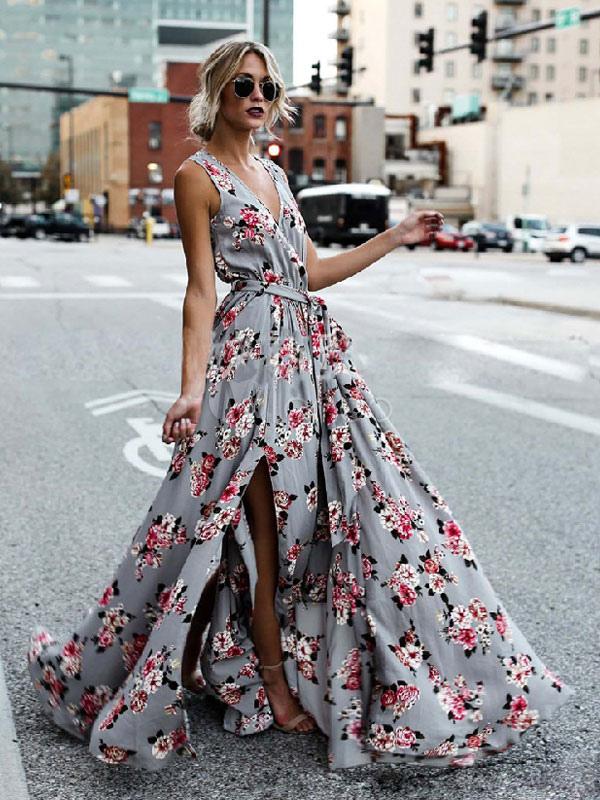 09f33526516d7 Summer Maxi Dress 2019 Floral Long Dress Women Chiffon V Neck Split Beach  Dress
