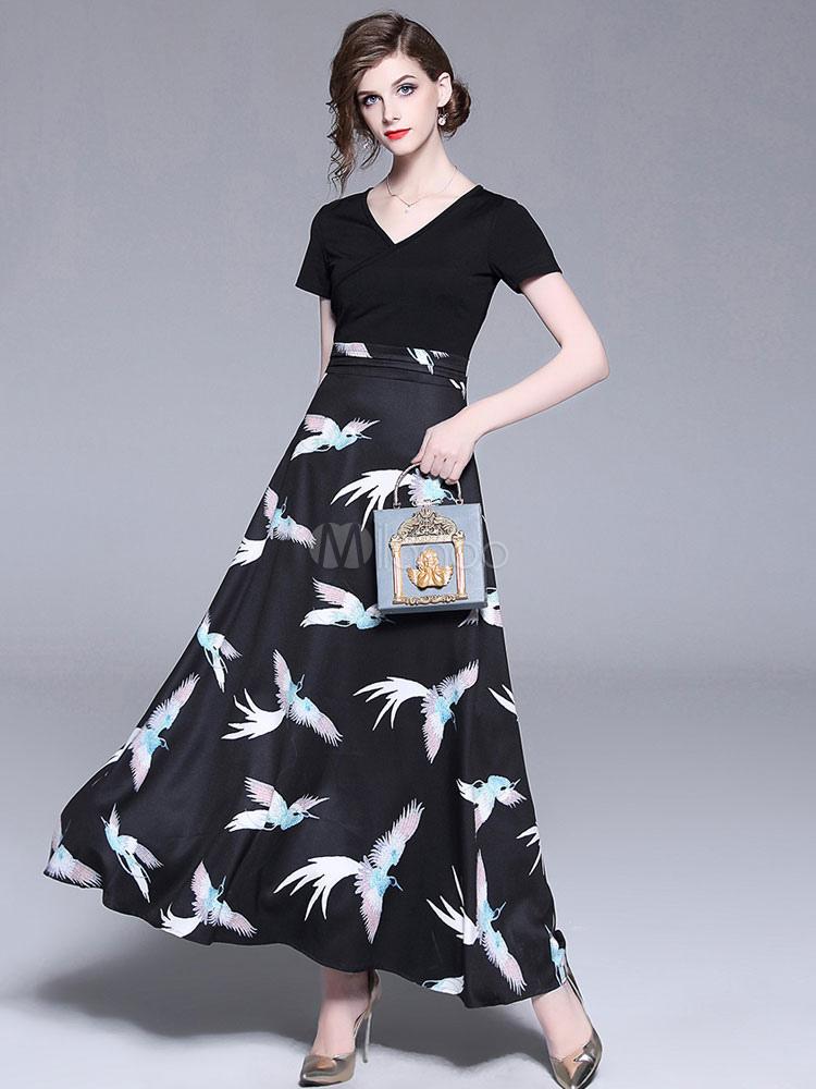c85ebae717 Black Summer Dress V Neck Short Sleeve Animal Print Maxi Dress-No.1 ...