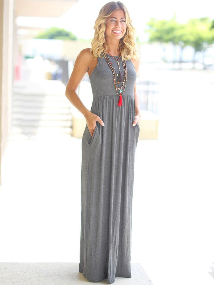 Long Summer Dress 2019 Pockets Sleeveless Women Maxi Dress ...