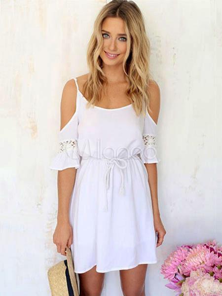 Summer Dress 2019 White Beach Dress Lace Patch Cold Shoulder Women Chiffon  Slip Dress,No